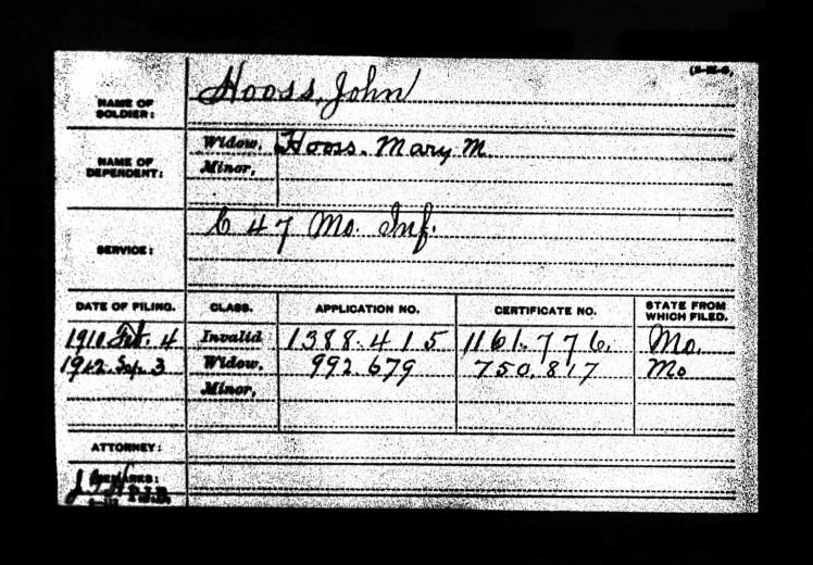 John Hooss Civil War pension record