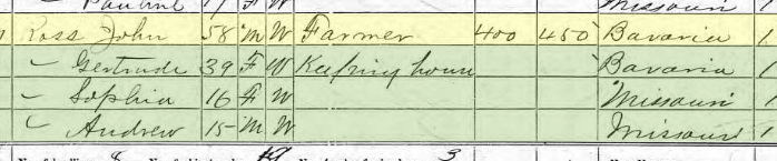 John Ross 1870 census Brazeau Township MO