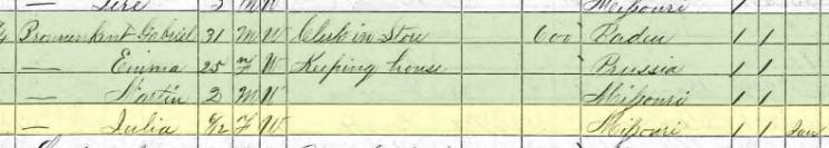 Julia Bronenkant 1870 census Brazeau Township MO