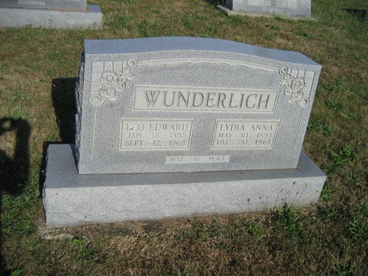 Leo and Lydia Wunderlich gravestone Trinity Altenburg MO