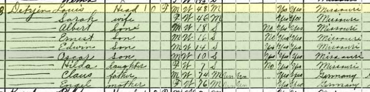 Louis Detjen 1920 census Salem Township MO