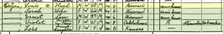 Louis Detjen 1940 census Salem Township MO
