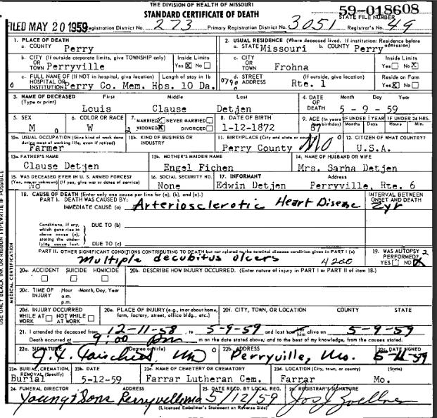 Louis Detjen death certificate