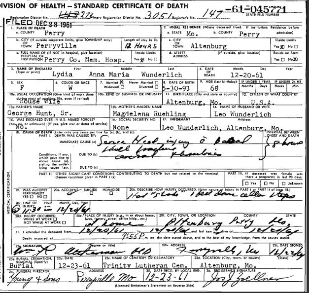 Lydia Wunderlich death certificate