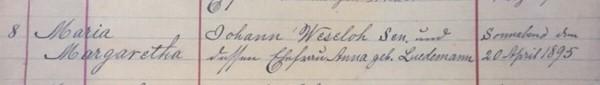 Maria Weseloh baptism record Christ Jacob IL