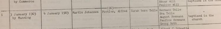 Martin Fuehler baptism record Eisleben Scott City MO