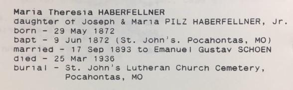 Mary Haberfellner info St. John's Lutheran Pocahontas MO