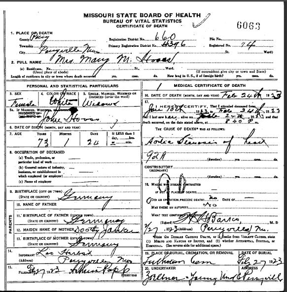 Mary Hooss death certificate