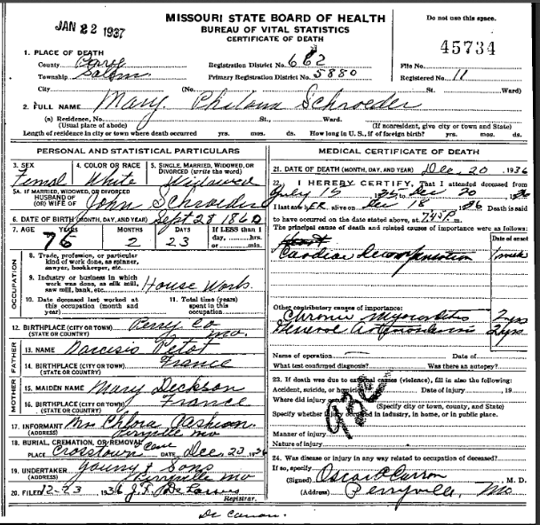 Mary Philomina Schroeder death certificate