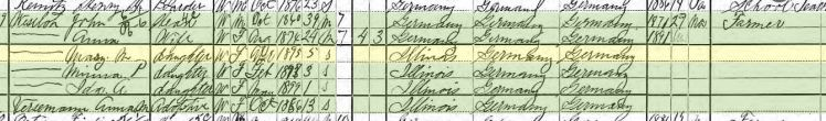 Mary Weseloh 1900 census Fountain Bluff Township IL