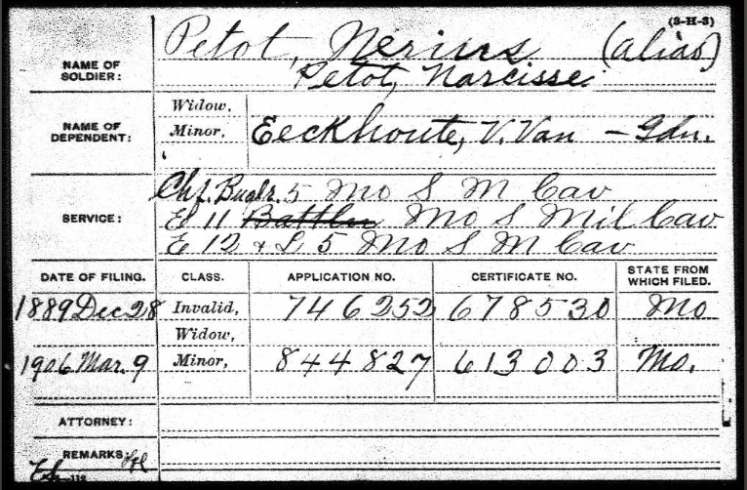 Narcisse Petot Civil War pension record