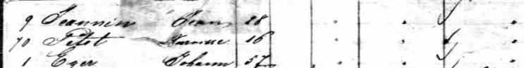 Narcisse Petot F W Brune passenger list 1857