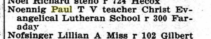 Paul Noennig 1909 Peoria city directory