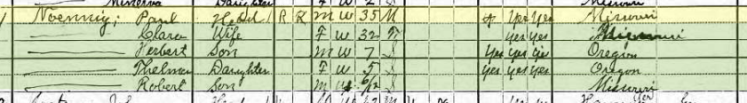 Paul Noennig 1920 census Concordia, MO