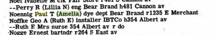 Paul Noennig 1949 Kankakee city directory