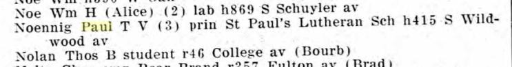 Paul Noennig Kankakee city directory 1927