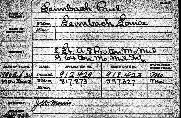 Paulus Leimbach Civil War pension record