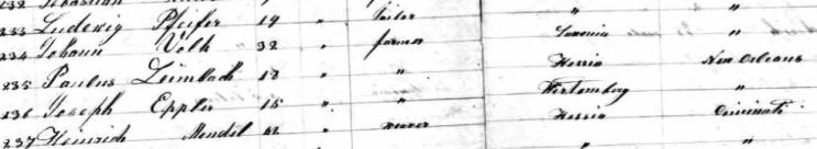 Paulus Leimbach Ernestine passenger list 1854