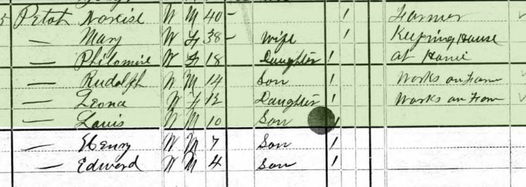 Philomine Petot 1880 census Bois Brule Township MO