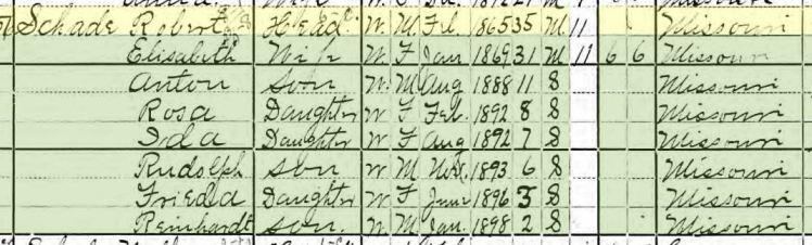 Robert Schade 1900 census Brazeau Township MO