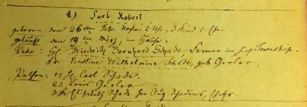 Robert Schade baptism record Immanuel Altenburg MO