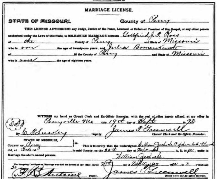 Ross Bronnenkant marriage license