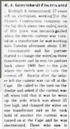 Rudolph Gemeinhardt newspaper article about death 1