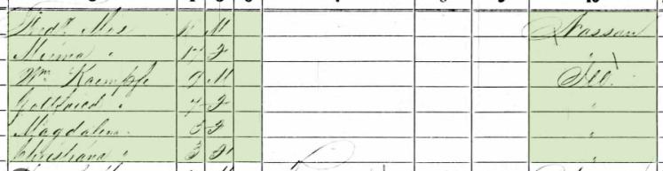 Samuel Kaempfe 1860 census 2 St. Clair County IL