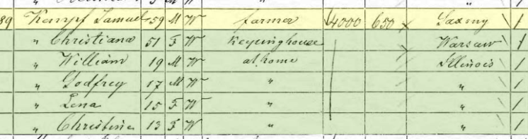 Samuel Kaempfe 1870 census St. Clair County IL