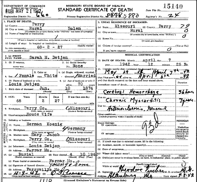 Sara Detjen death certificate