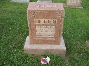 Sarah Detjen gravestone Salem Farrar MO