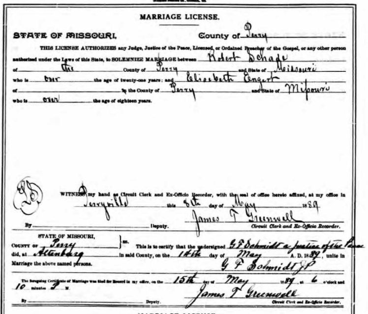 Schade Engert marriage license