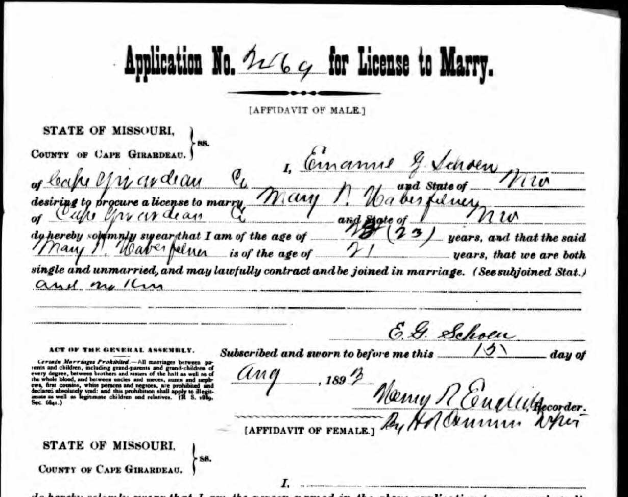 Schoen Haberfellner marriage license application