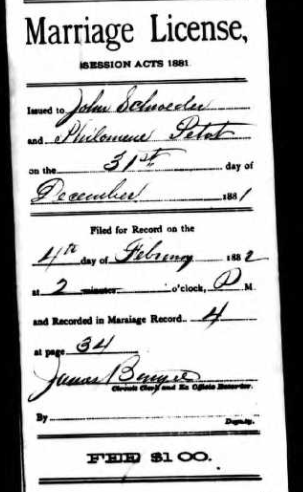 Schroeder Petot marriage license