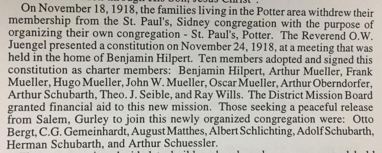 St.Paul's Lutheran Potter NE history