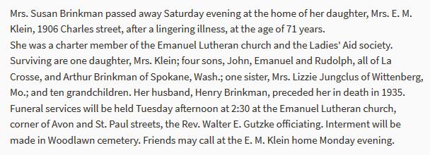 Susan Brinkmann obituary