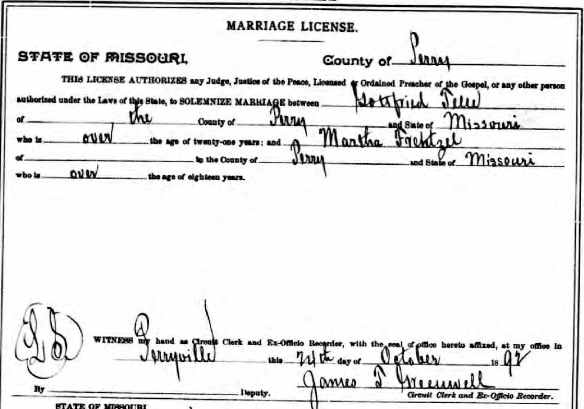 Telle Frentzel marriage license