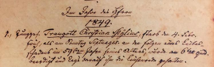 Traugott Myelius death record Trinity Altenburg MO
