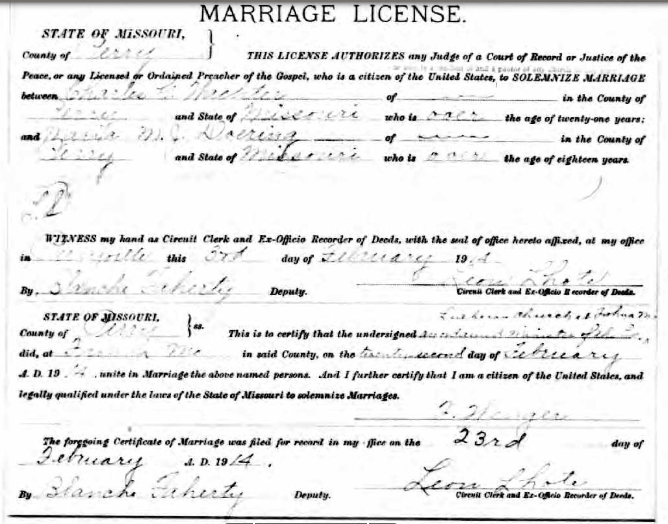 Wachter Doering marriage license