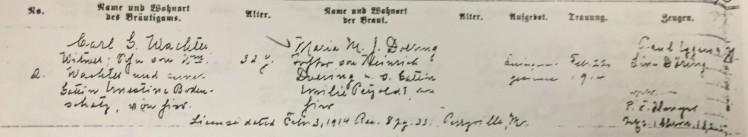 Wachter Doering marriage record Trinity Altenburg MO