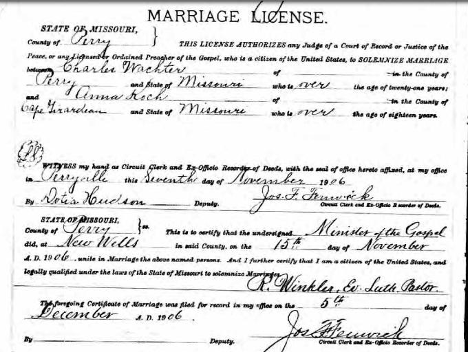 Wachter Koch marriage license