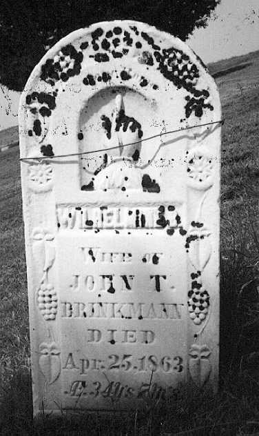 Wilhelmina Nicolai Brinkmann gravestone Brinkmann Ridge