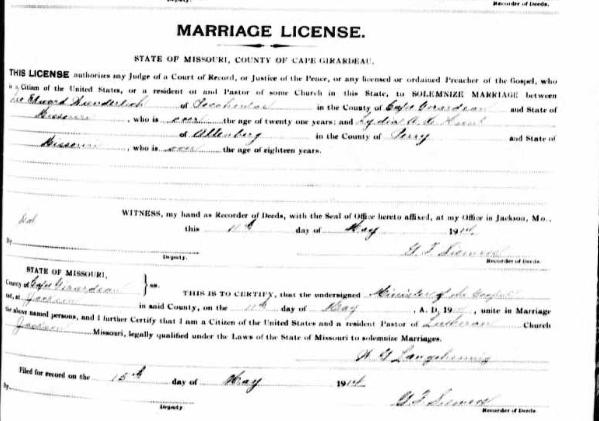 Wunderlich Hunt marriage license