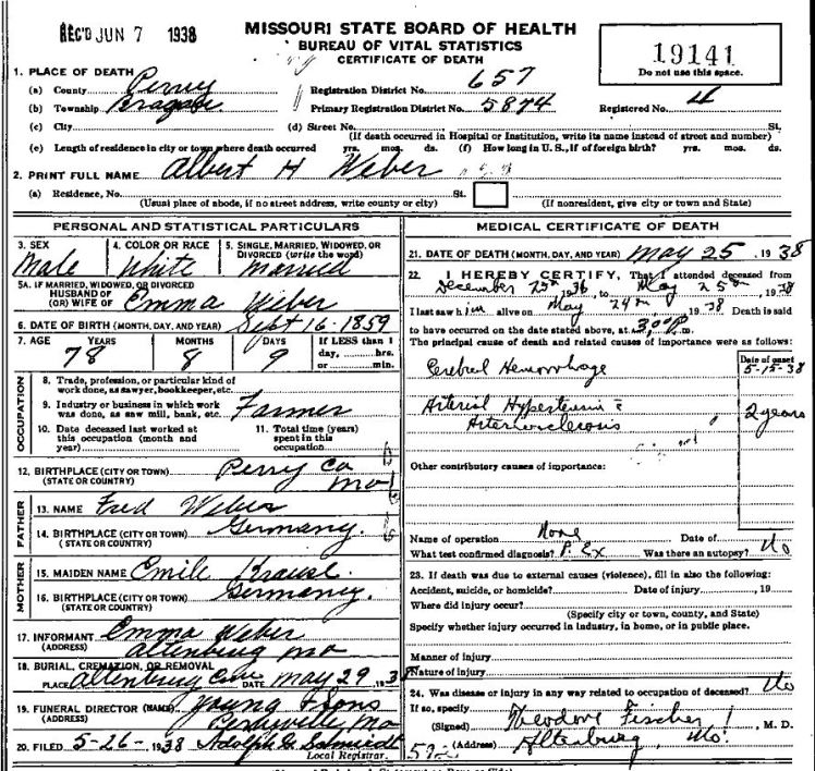 Albert Weber death certificate