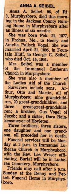 Anna Seibel obituary