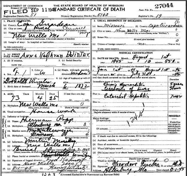 Anna Winter death certificate