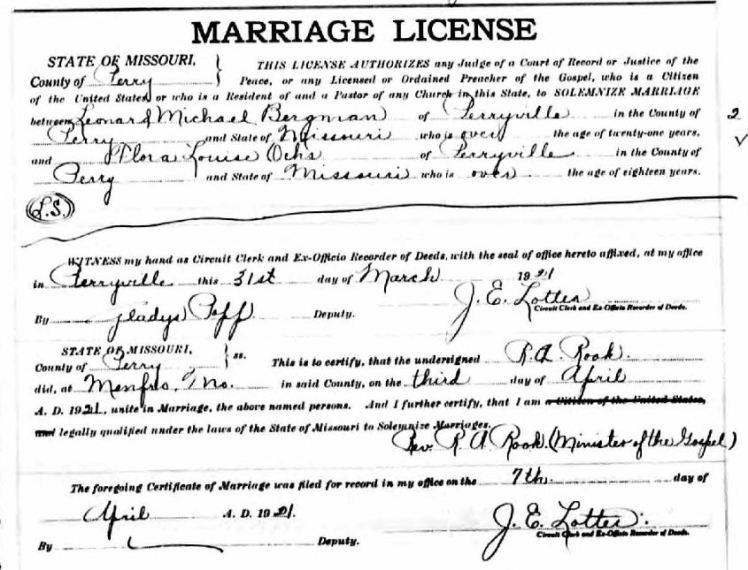 Bergmann Ochs marriage license