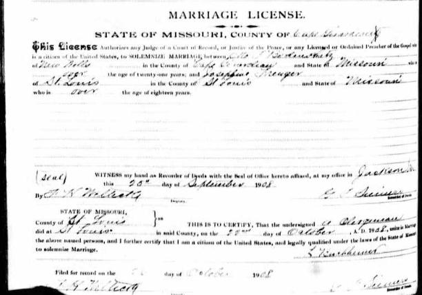 Bodenschatz Frenger marriage license