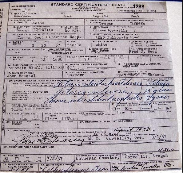Emma Heeszel Beck death certificate