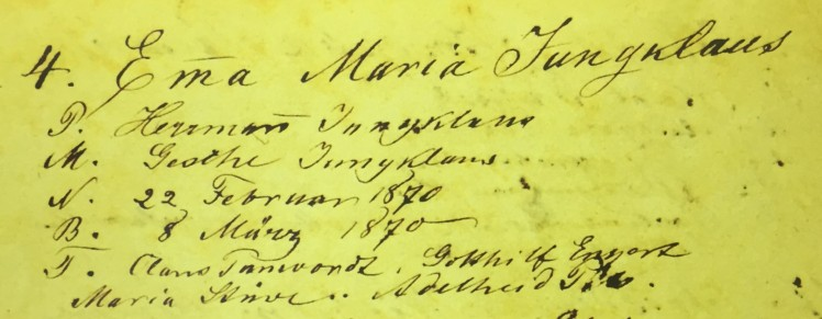 Emma Jungclaus baptism record Immanuel Altenburg MO